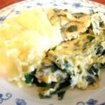 Tortilla o torta de huevo con espinacas